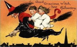vintage-halloween-witch-broomstick-boy-girl-postcard1